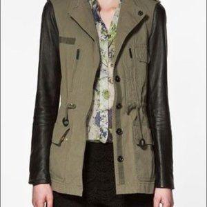 Zara Green Military Jacket Leather Sleeves Sz L